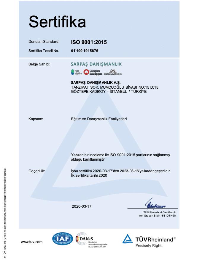 Girişim Savaşçısı ISO Sertifikası Kalite Belgesi